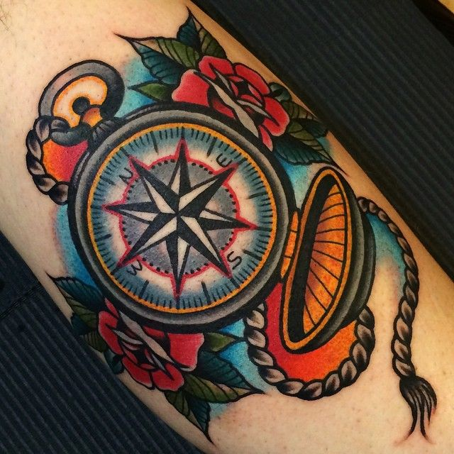 Love this concept of pocket compass, traditional tattoo.