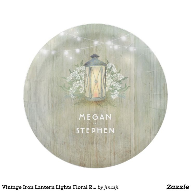 Vintage Iron Lantern Lights Floral Rustic Paper Plate Rustic barn or woodland wedding paper plates with vintage lantern and baby's breath