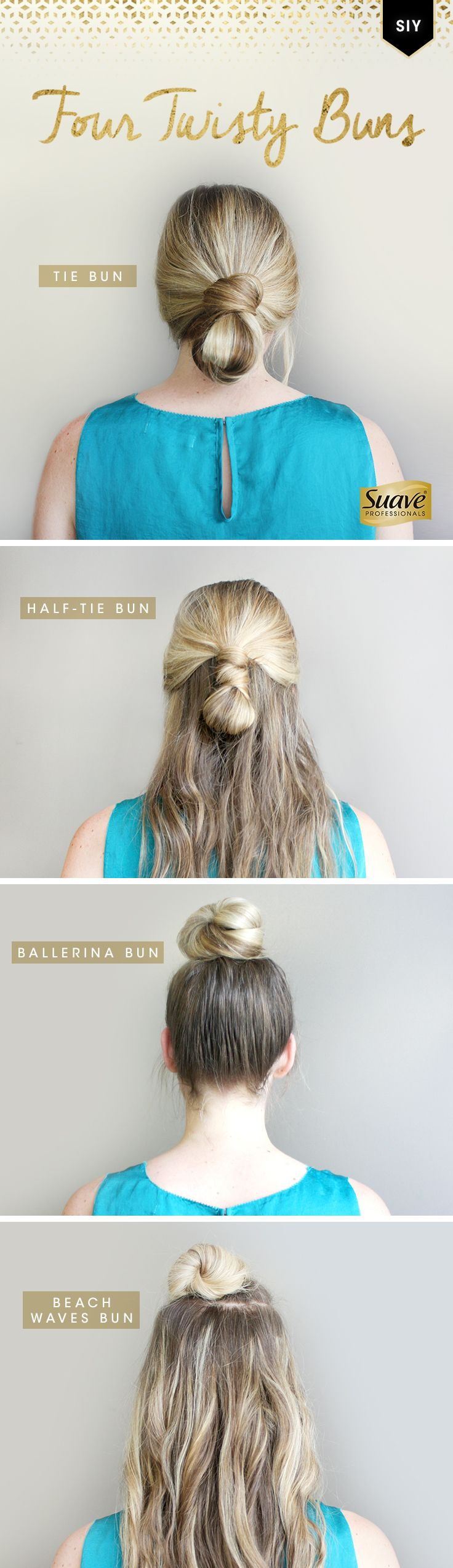 Tired of the simple sock bun? Mix it up with these easy bun hairstyles. Style It Yourself by starting with Suave Professionals Sea Mineral Infusion Moisturizing Body Shampoo and Conditioner to lock in moisture for better styling. Try a low Tie Bun for an elegant and effortless look. Wear your hair down and rock a Half-Tie Bun. A classic Ballerina Bun is a great summer hairstyle to beat the heat. An effortless Beach Waves Bun is a great date night look.