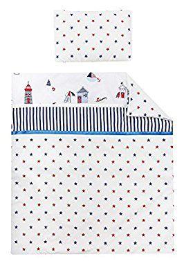 Vizaro - PIUMINO + Cuscino per CULLA - 100% Cotone - Prodotto in UE con controllo di sostanze nocive - Prodotto SICURO: il neonato lo può succhiare senza rischi - Collezione Casette Sulla Spiaggia
