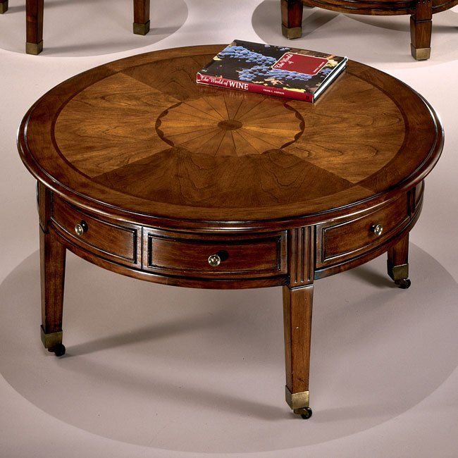 Glen Eagle Round Cocktail W Casters Antique Coffee Tables