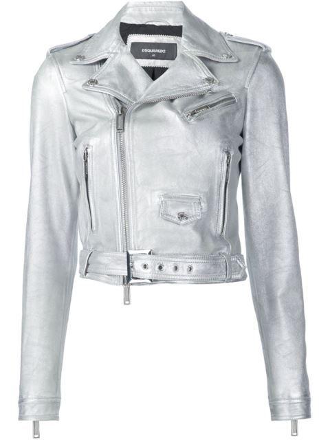 Dsquared2 байкерская куртка с отделкой металлик
