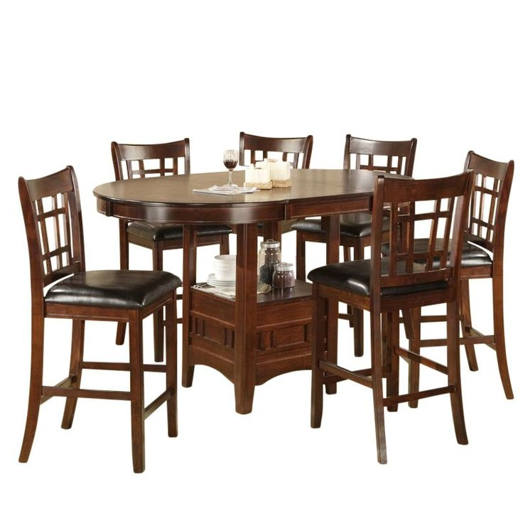 Fit the whole family at the Mission 7 Piece Counter Height Dining Set. Espresso brown finish. 6 counter height stools. Table base includes display shelf for storage. Faux leather seating. Leaf included. Mission 7 Piece Counter Height Dining Set with Storage Table | Weekends Only Furniture and Mattress