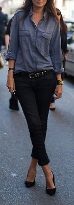 Business casual work outfit. Chambray with black skinnies & heels.
