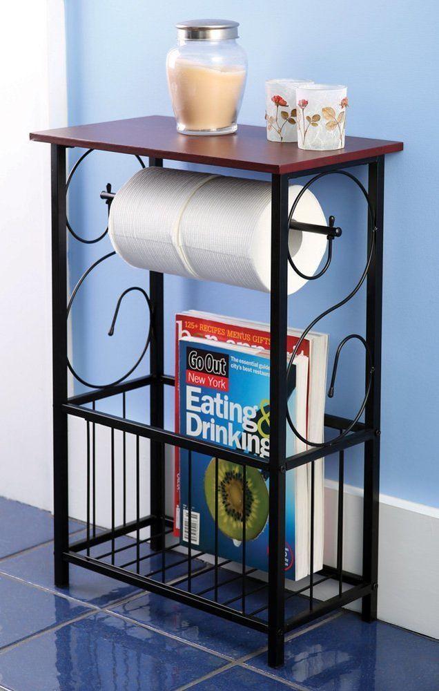 Make Photo Gallery Bathroom Table Wood Top Toilet Paper Holder Magazine Storage Rack Bath Organizer u