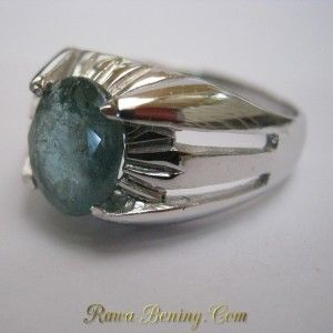 Cincin Perak 925 Ring 11 US Batu Mulia Zamrud Hijau 2.20 Carat