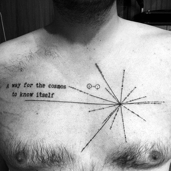 50 Pulsar Map Tattoo Designs For Men - Pioneer Plaque Ink Ideas ...