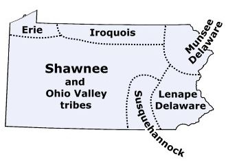 Map of Pennsylvania tribes in the past - the Lenape were part of the Friend family history - then on into western PA