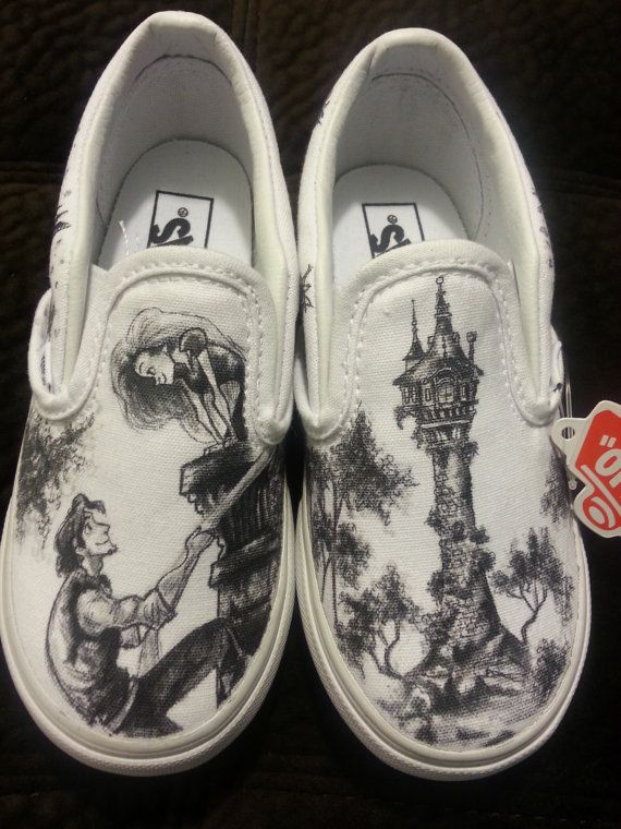 WRAPAROUND Disney's Tangled Custom Made Shoes in YOUTH size. Artwork and Shoes (Vans) INCLUDED on Etsy, $170.00