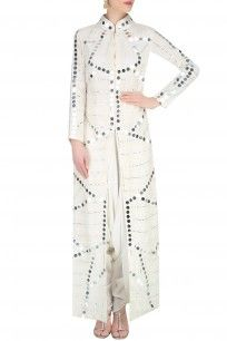 Off White Mirror Work Front Open Jacket With Dhoti Pants #mirrorwork #frontopenjacket #dhotipant #offwhite #perniaspopupshop #shopnow #PreetiReddy