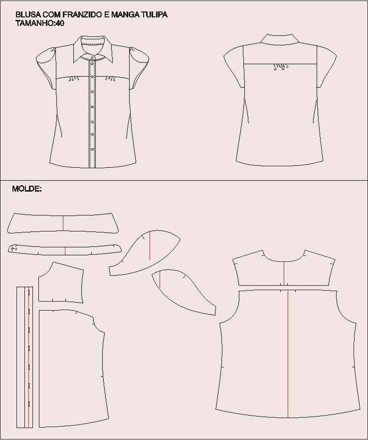 Modelagem de camisa com franzido e manga tulipa. Fonte: https://www.facebook.com/photo.php?fbid=199067540264725&set=a.115900968581383.20248.104276163077197&type=1&theater