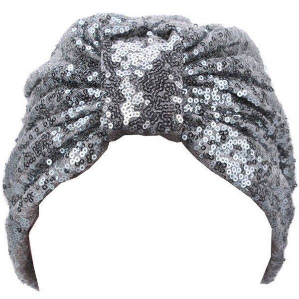 Silver Sequins Party Turban Hat Head wrap, Christmas Hat Head Wrap,... ($25) ❤ liked on Polyvore featuring accessories, hats, party hat, sequin hat, sequin cap, party caps and cap hats