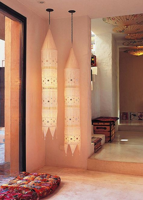 Indian cloth lanterns, pile up the floor pillows......