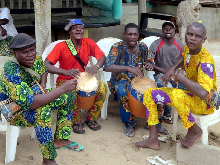 Drummers establish the beat at Ganvie village on Lake Nokoue near Cotonou, Benin.