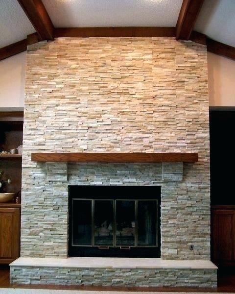 Stacked Stone Fireplace Surround Stone Tile Fireplace Surround