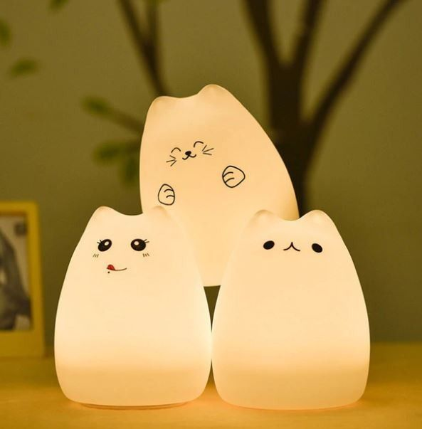 Colorful Cats Cartoon Type Usb Rechargeable Portable Led Night Light Lamp For Children Led Night Light Night Light Kids Night Light Lamp