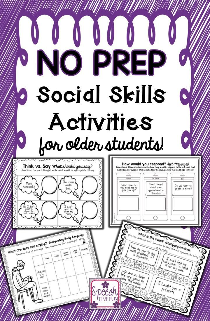Coloring activities speech therapy - No Prep Social Skills For Older Students Speech Pathologyspeech