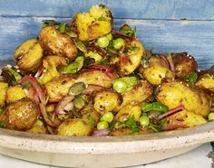 Bombay potato salad, 4p. Serve with a red-orange soup, WF lentil dal burger.