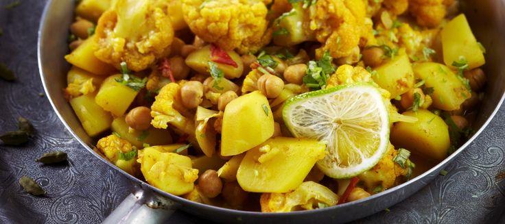 Kukkakaalia ja perunaa intialaisittain