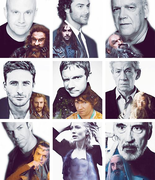 Hobbit Cast - 2/2  Left to right, top to bottom:  Peter Hambleton (Gloin)  Aidan Turner (Kili)  John Callen (Oin)  Dean O'Gorman (Fili)  Martin Freeman (Bilbo)  Sir Ian McKellan (Gandalf)  Hugo Weaving (Elrond)  Cate Blanchett (Galadriel) &  Sir Christopher Lee (Saruman).