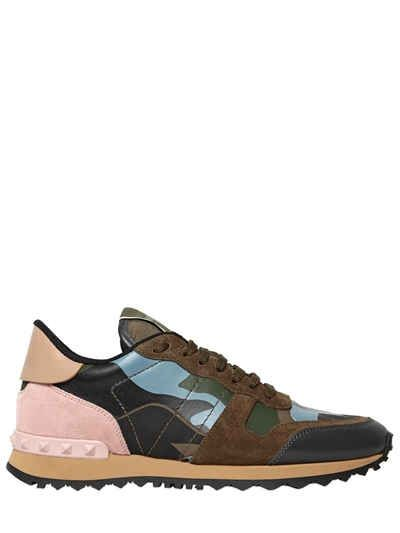 VALENTINO CAMOUFLAGE LEATHER & SUEDE SNEAKERS. #valentino #shoes #