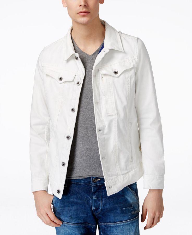 GStar Men's 3301 Slim-Fit White Denim Jacket