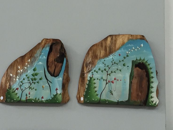"""me 09"" & ""me 10"" Paweł Widera original paintings, acrylic on wood, Art Naif Festiwal Katowice"