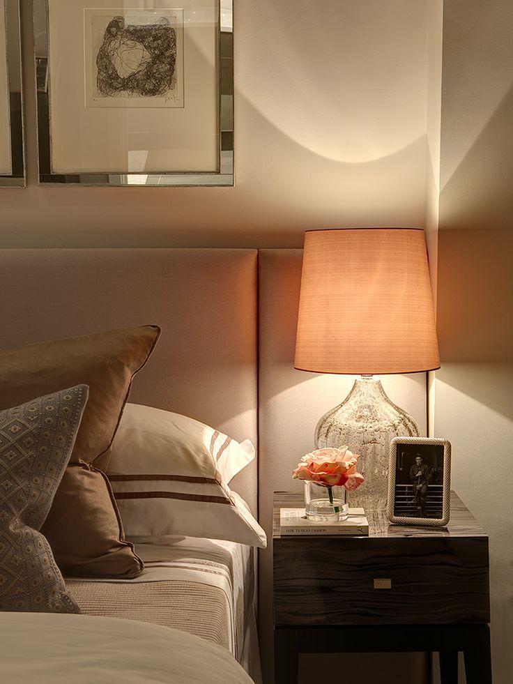 Bedroom - Black & grey finish bedside table, clear glass base bedside table lamp set in a neutral palette....serene.