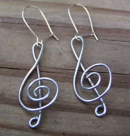 Treble Clef Coiled Wire Earrings