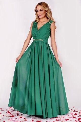 Rochie eleganta lunga verde din matase