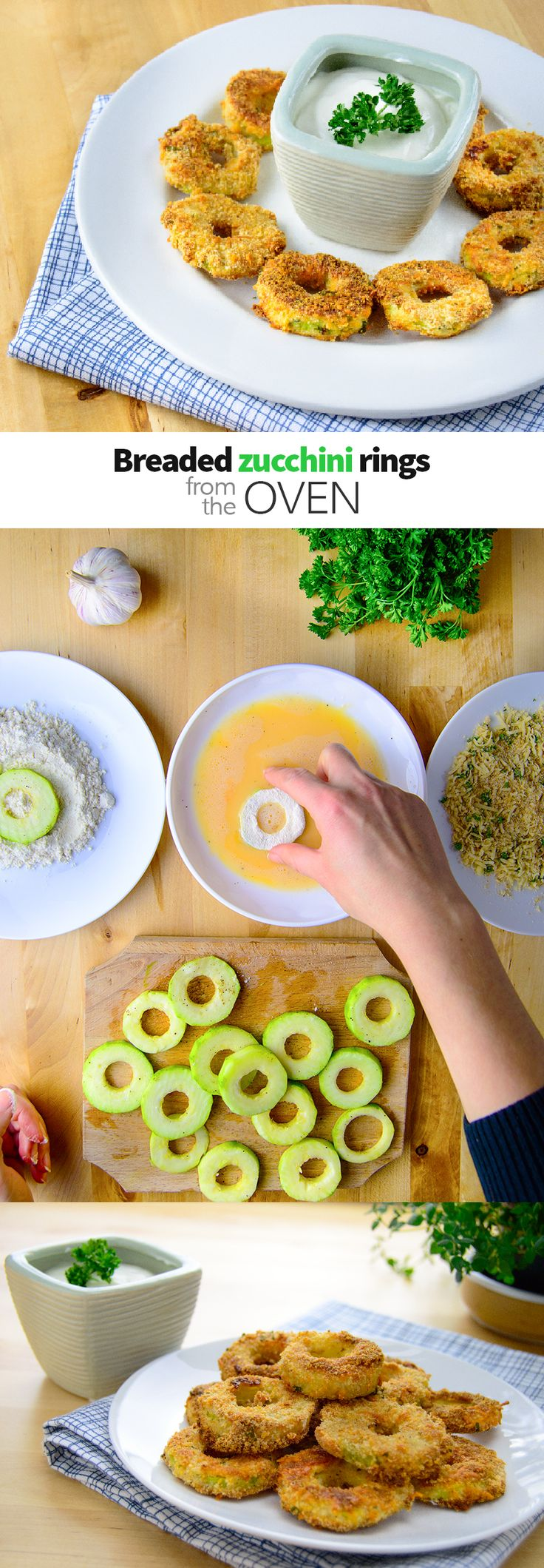 Breaded zucchini rings form the oven - crispy zucchini rings baked in the oven