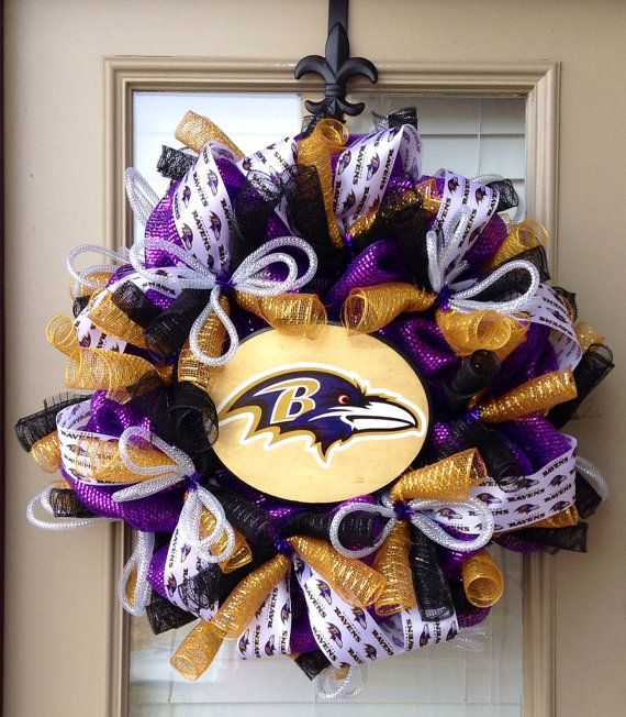 Baltimore Ravens wreath by SouthernMamaWreaths on Etsy, $85.00                                                                                                                                                                                 More