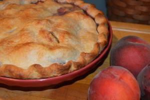 Peach Blueberry Pie with crust based on Joyce Maynard's directions.