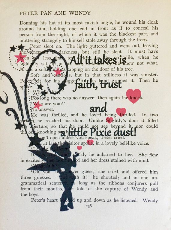 Peter Pan & Wendy Book PageAll it Takes is Faith Trust