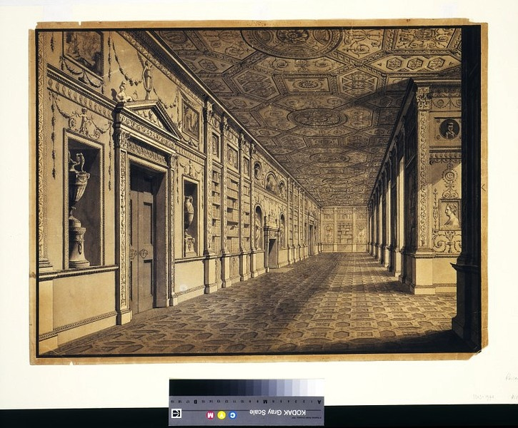This illustration of the gallery at Syon House illustrates what is regarded as the essential Adam style. It is delicate, yet so decorated that few surfaces are left unadorned. Individual elements of the decoration, such as the plasterwork panels, and the figure medallions and ribbon bands on the ceiling, are all derived from a Classical tradition. It was this sort of architectural design that the Adam brothers described when they wrote in their introduction to volume I of The Works in…