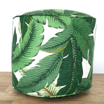 Tropical green pouf ottoman, outdoor pouf swaying palms, outdoor seating tropical leaves  island decor, green outdoor ottoman banana leaf