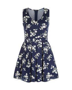 Blue Vanilla Navy Floral Print Mesh Panel Skater Dress   New Look