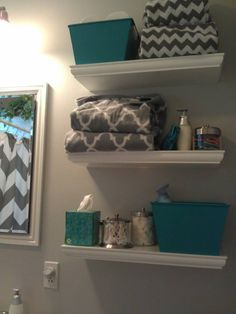 ... The Three Small Containers. Gray Chevron Shower Curtain, Paint Color,  Home Good Towels, Home Good Q Tip Container, Floating Shelves From Teal Bath  Rug