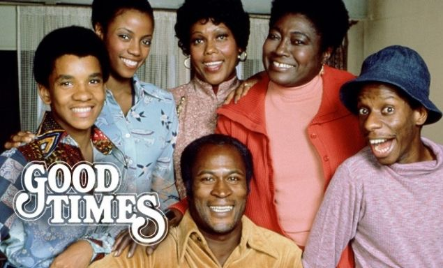 "Good Times, a popular all black cast show from 1974-1979, and even now. This show features an African American family in the projects of Chicago, ""scratchin' and survivin' "" to make it.  Link: http://cdn.tss.uproxx.com/TSS/wp-content/uploads/2013/03/good-times.jpg"