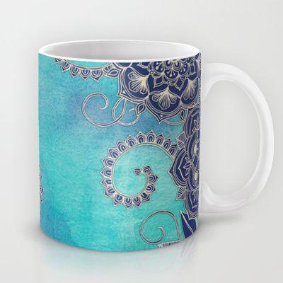 Mermaid's Garden - Navy & Teal Floral on Watercolor Mug by Micklyn - $15.00