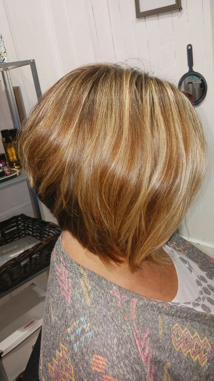 Inverted Bob With Blonde Highlights And Warm Golden Copper