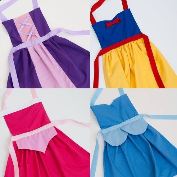 Dress up aprons: Snow White, Cinderella, Sleeping Beauty, Ariel, Belle, Rapunzel, Mulan, Anna, Merida, Minnie Mouse and more....these would be fun to make!!