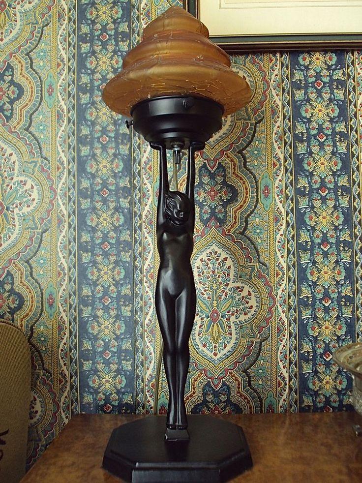 Frankart 27 figural art deco lamp original restored frankart