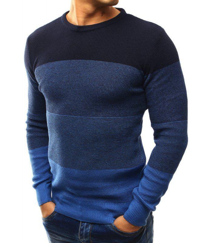 Pánsky tmavomodrý sveter s pásikmi
