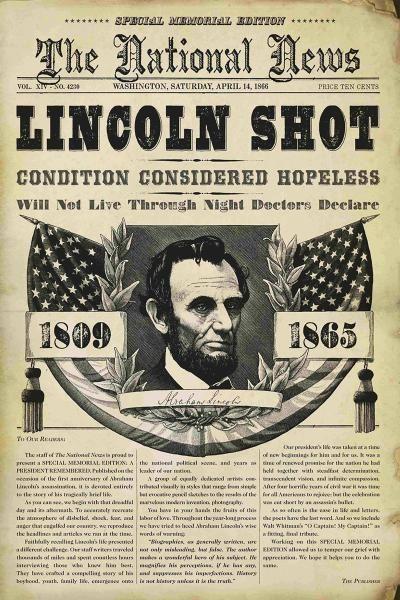 """Titelseite von """"The National News"""": Die Zeitung berichtete über die Ermordung Lincolns. Mehr zur Symbolfigur der Amerikaner hier: http://www.nachrichten.at/nachrichten/150jahre/tagespost/Symbolfigur-der-Amerikaner;art171761,1746788 (Bild: Reuters)"""