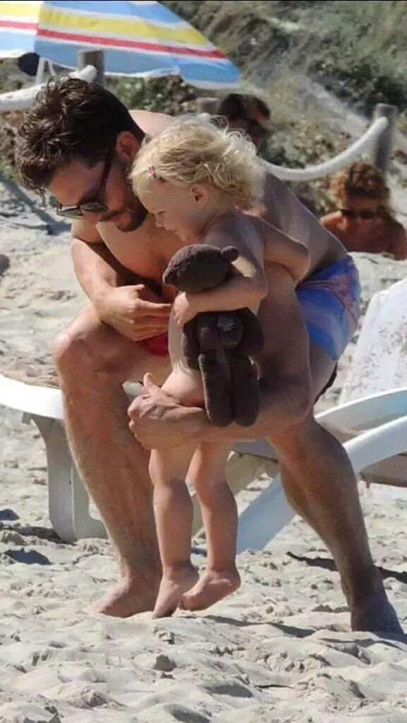Jamie Dornan and his daughter Dulcie on holiday in Spain