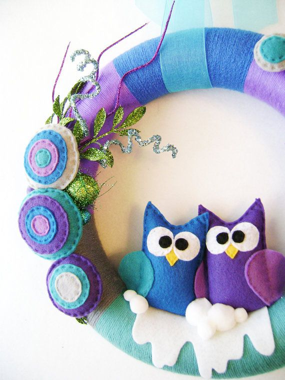 Owl Christmas Wreath  Party Time  Teal Purple by RedMarionette...I love her stuff!!!