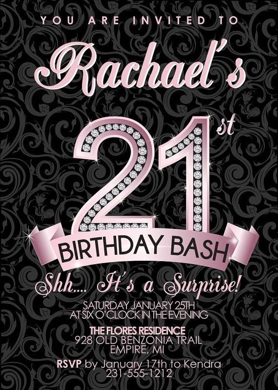 Best Adult Birthday Party Invitations Images On Pinterest - 21st birthday invitation card background