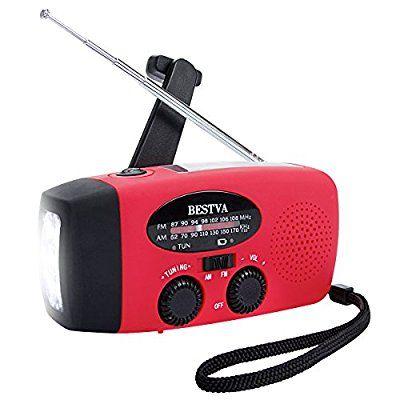 BESTVA Solar Radio Hand Crank Self Powered 1000mAh AM/FM/WB Weather Radio Dynamo Emergency LED Flashlight With Phone Charger Power Bank