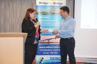Laurena Reissman, SEBCC VP thanks guest speaker Andy Roberts of The Davidson Institute for taking the time to share his knowledge with members and guests of SEBCC.
